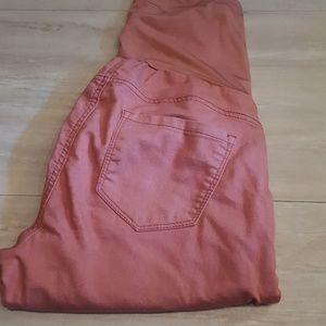 pink skinny maternity pants